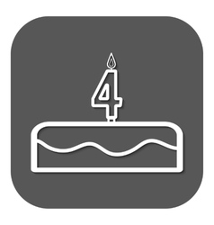Birthday cake with candles number 4 vector