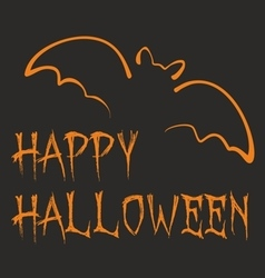 Happy halloween dark party card with orange bat vector