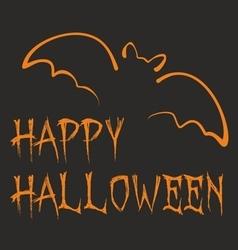 Happy halloween dark party card with orange bat vector