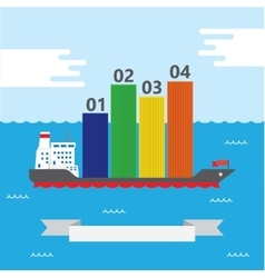 Container ship infographic - vector