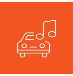 Car with music note line icon vector