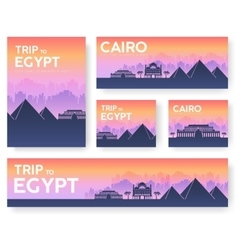 Egypt landscape banners set design vector