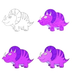 Dino set icon 4 vector