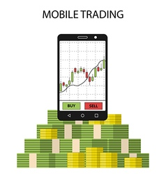 Tablet smartphone with stock chart and pack of vector