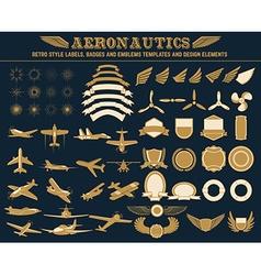 aeronautics labels templates set vector image vector image