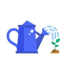 blue watering can and sprout vector image vector image