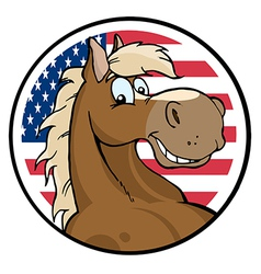 Cartoon Horse In Front Of Flag Of USA vector image vector image