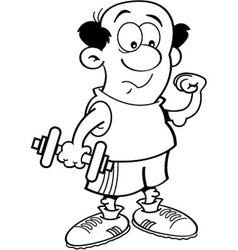 Cartoon Man Holding a Dumbell vector image