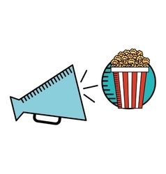cartoon megaphone cinema movie icon vector image