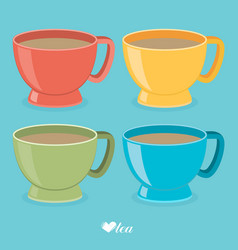 Color tea cup set flat vector