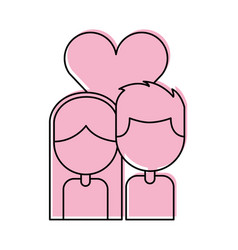 Couple with heart love vector