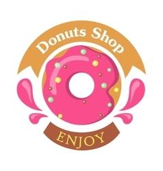 Donut shop logo icon enjoy tasty glazing vector