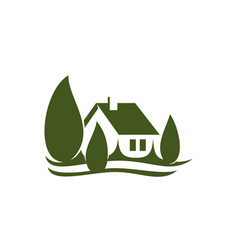 Eco house village green real estate icon vector