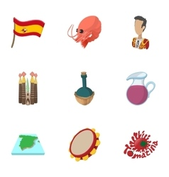 European spain icons set cartoon style vector