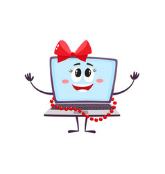 flat funny laptop female character with bow vector image