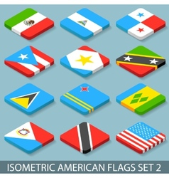 Flat Isometric American Flags Set 2 vector image