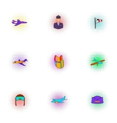 Flying vehicles icons set pop-art style vector