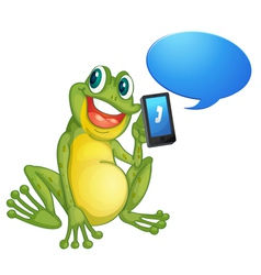 Frog with cell phone vector image