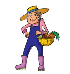 gardener old woman vector image vector image