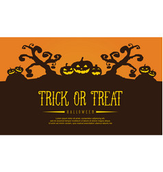 Halloween background with tree and pumpkin vector