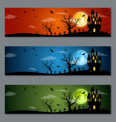 halloween colorful banners set vector image