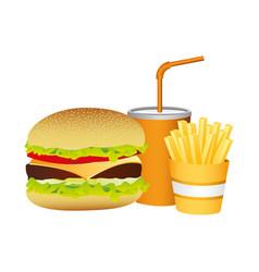 Hamburger soda and fries french food vector