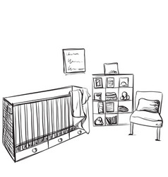 Hand drawn children room furniture sketch vector