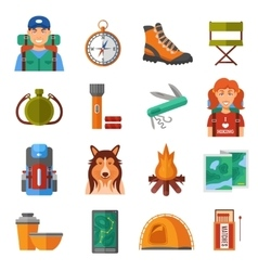 Hiking flat color icons set vector