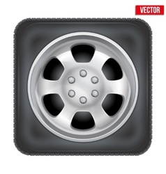 Icon of square car wheel on white background vector image vector image