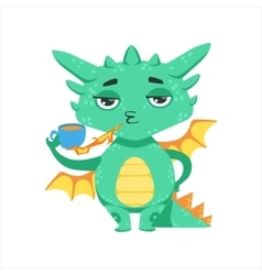 Little anime style baby dragon warming up tea with vector
