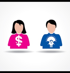 Male Female icon having money and idea bulb vector image vector image
