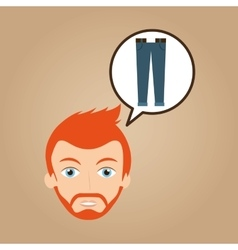 Man hipster bearded blue jeans wearing vector