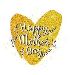 Mothers day lettering on golden heart vector