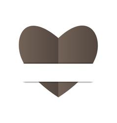 Paper black heart on white background vector