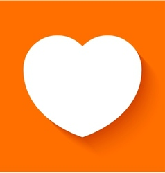 Paper heart on orange background vector image vector image