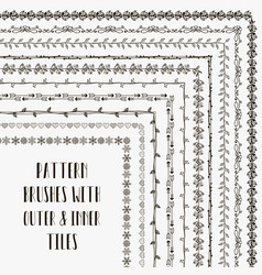pattern brushes with outer and inner tiles vector image vector image