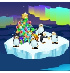 Penguins at the north pole with a christmas tree vector
