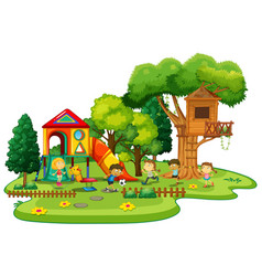 playground scene with children playing vector image vector image
