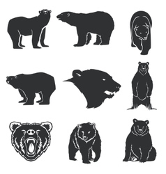 Retro bear mascot for emblems logos icons vector