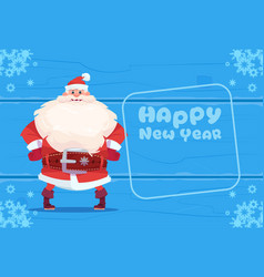 santa claus on happy new year greeting card vector image vector image