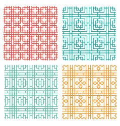 Seamless geometric line pattern in chinese style vector