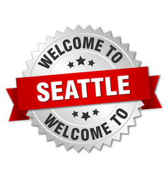 Seattle 3d silver badge with red ribbon vector