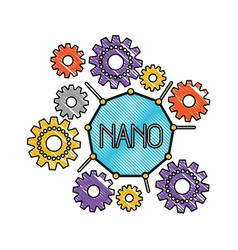 Set gear machinery around of nano molecule in vector
