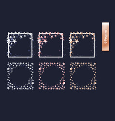 Set of rose gold gold silver cutout star borders vector