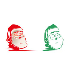 silhouette of head faces of santa claus set vector image vector image