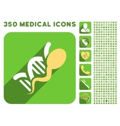 Sperm genome icon and medical longshadow icon set vector