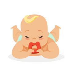sweet little baby with closed eyes lying on his vector image vector image
