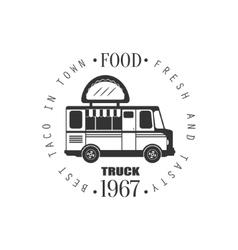Taco food truck label design vector