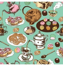 Teapot and cup seamless pattern vector image vector image