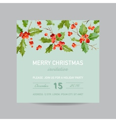 Vintage Holly Berry Christmas Card - Winter vector image